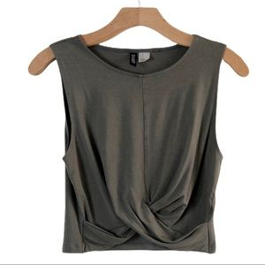 H&M Knot Detail Olive Crop Top